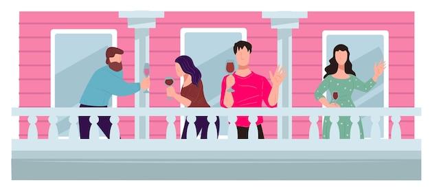 Mensen die wijn drinken en praten op het balkon, het verzamelen van vrienden. klein feestje of feest tijdens quarantaine. coronavirusvergrendeling, romantische avond van mannen en vrouwen, buren vector