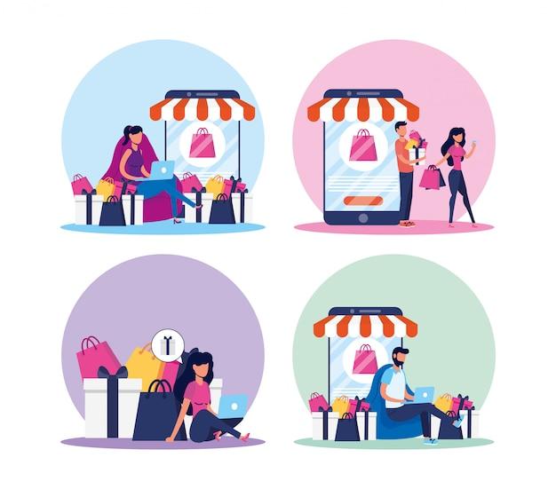 Mensen die winkelen online tech