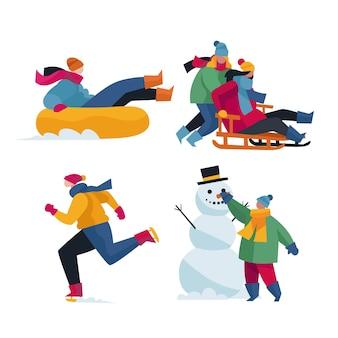 Mensen die winteractiviteiten doen