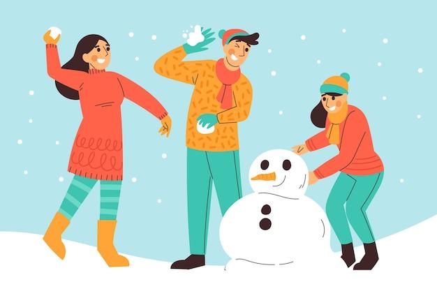 Mensen die winteractiviteiten in de buitenlucht doen