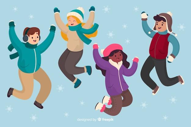 Mensen die wintertijdachtergrond springen