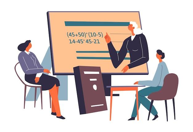 Mensen die wiskunde studeren tijdens lessen, tutor en leerling