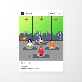 Mensen die yoga beoefenen. vrouwen oefenen op yogales, zittend in lotus houding, mediteren met leraar