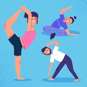 Mensen die yoga in plat ontwerp doen