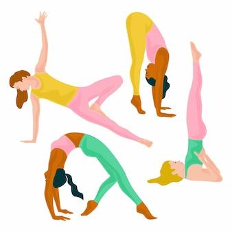 Mensen die yoga ontwerpen