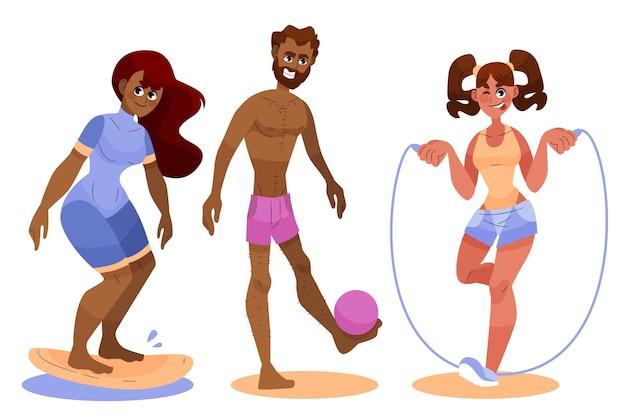Mensen die zomersporten beoefenen