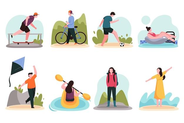 Mensen die zomersporten doen