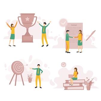 Mensen doelen en doel illustratie moderne set vlakke afbeelding
