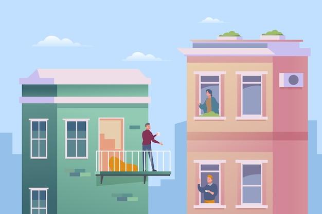 Mensen doen activiteiten op balkon