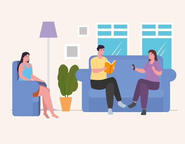 Mensen doen activiteiten op de bank en stoel thuis ontwerp van activiteit en vrije tijd