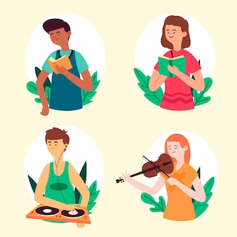 Mensen doen culturele activiteiten concept
