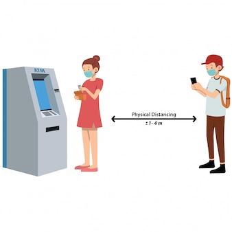 Mensen doen een sociale afstandswachtrij op atm