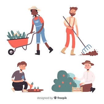Mensen doen landbouwspullen