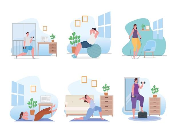 Mensen doen oefening thuis collectie illustratie