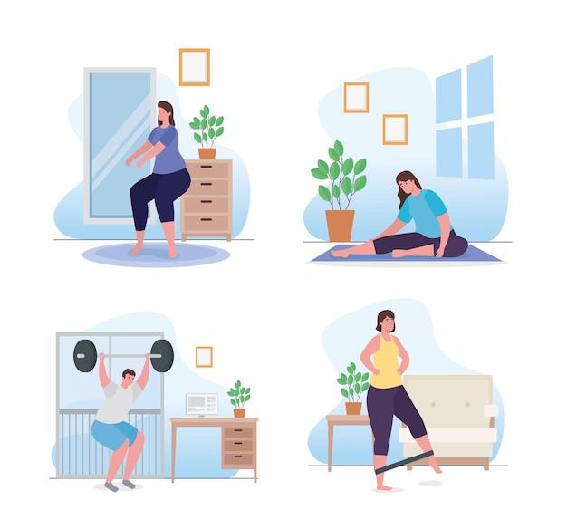Mensen doen oefening thuis instellen afbeelding