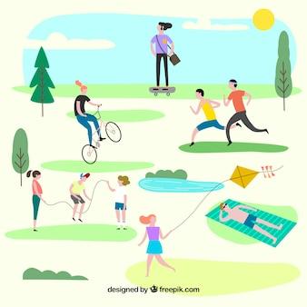 Mensen doen outdoor vrijetijdsbesteding met een plat ontwerp