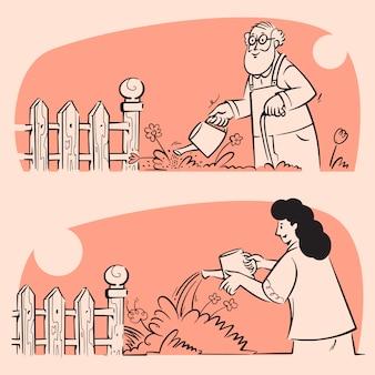 Mensen doen tuin drenken baan doodle illustraties