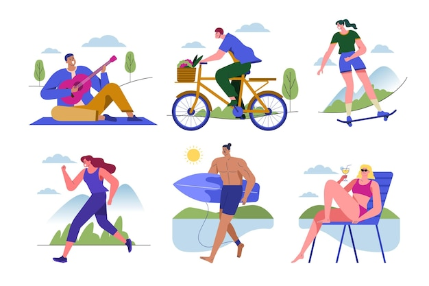 Mensen doen verschillende activiteiten in de zomer