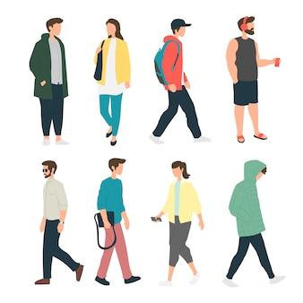 Mensen doen verschillende activiteiten op de stoep, mensen staan in de zijgang, voetgangers, mensen lopen