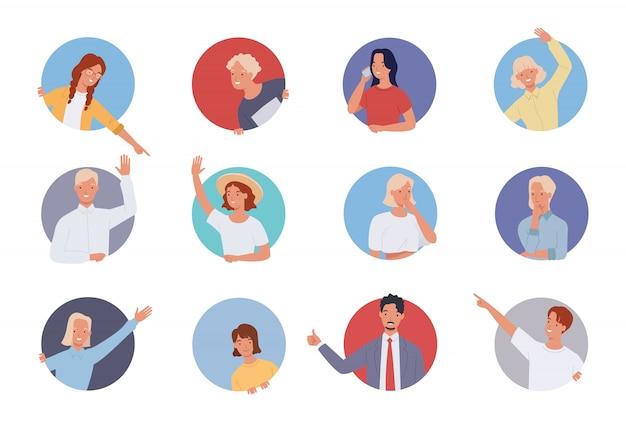 Mensen doen verschillende gebaren in een cirkelvormig frame. mannen en vrouwen die uit cirkelvenster kijken.
