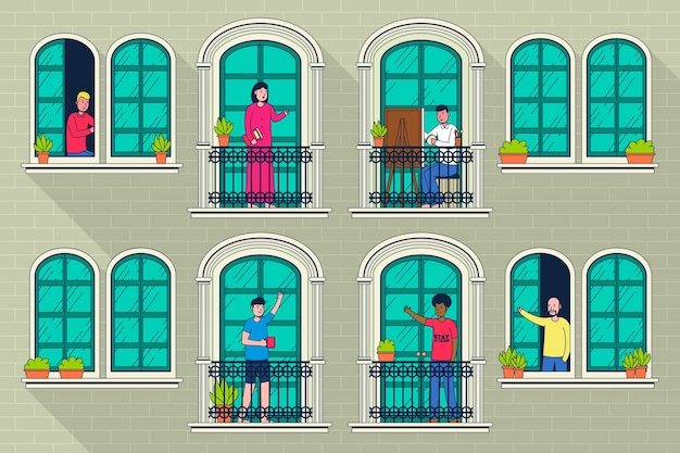 Mensen doen vrijetijdsactiviteiten op balkons