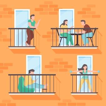 Mensen doen vrijetijdsactiviteiten op het balkon