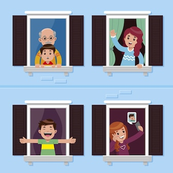Mensen doen vrijetijdsactiviteiten op ramen