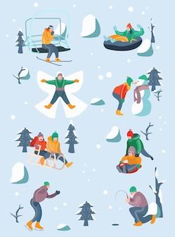 Mensen doen winteractiviteiten collectie