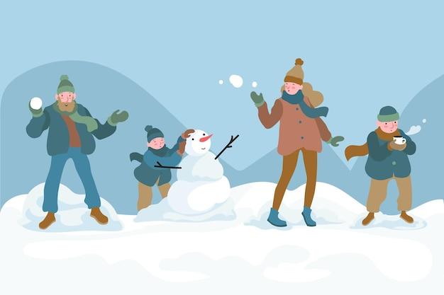 Mensen doen winteractiviteiten in de buitenlucht