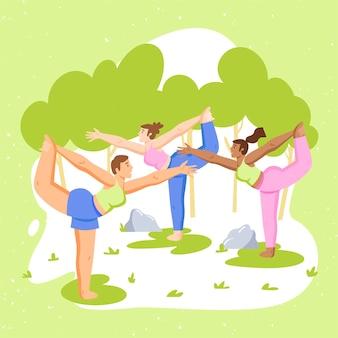Mensen doen yoga buitenshuis