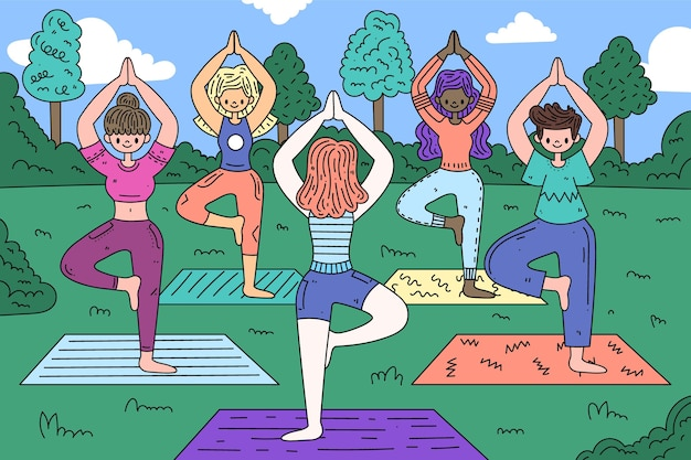 Mensen doen yoga hand getrokken ontwerp