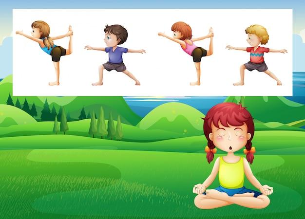 Mensen doen yoga in het park illustratie