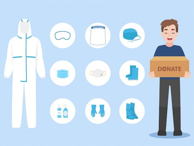Mensen doneren persoonlijke beschermingsmiddelen ppe kleding geïsoleerd en veiligheidsuitrusting om corona-virus te voorkomen