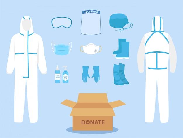 Mensen doneren persoonlijke beschermingsmiddelen ppe kleding geïsoleerd en veiligheidsuitrusting