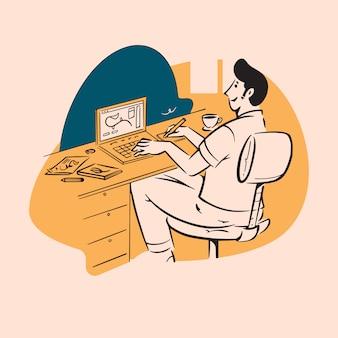 Mensen doodle van ontwerper die op laptop werkt