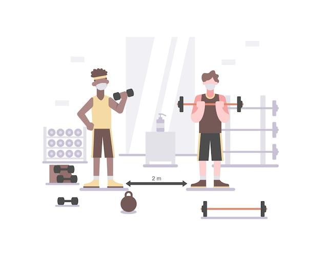 Mensen dragen een gezichtsmasker op de sportschool om gezond te blijven door te blijven oefenen en fit te blijven en veiligheidsprotocollen te volgen, zoals sociale afstand nemen