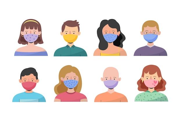 Mensen dragen gezichtsmaskers pack