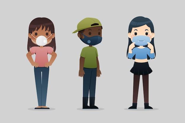 Mensen dragen gezichtsmaskers