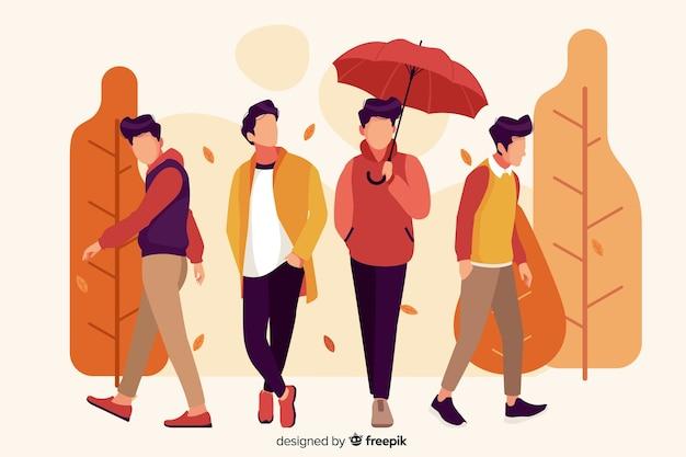 Mensen dragen herfst kleding illustratie