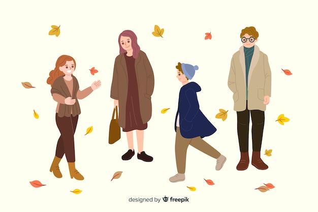 Mensen dragen herfst kleding illustraties