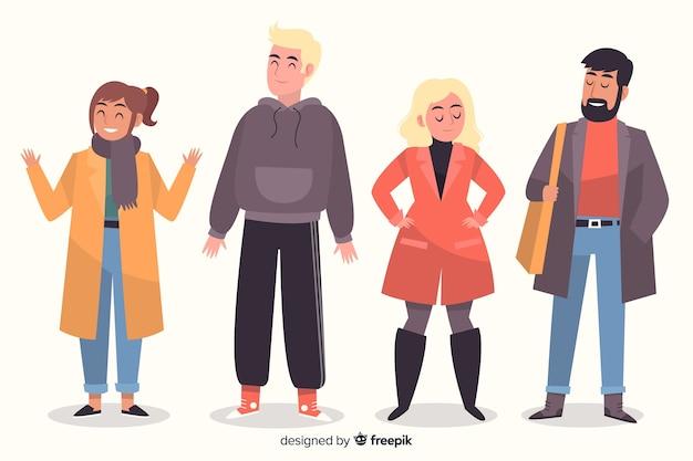 Mensen dragen herfst kleding