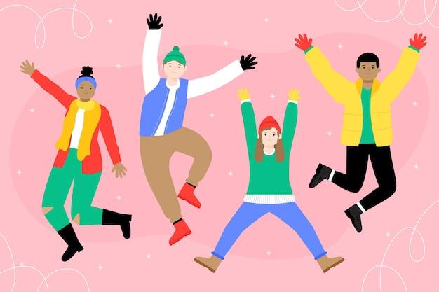 Mensen dragen kleurrijke winterkleren