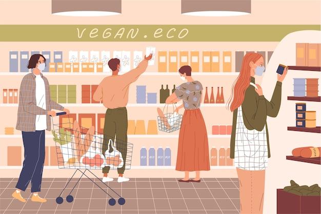 Mensen dragen maskers in de supermarkt.