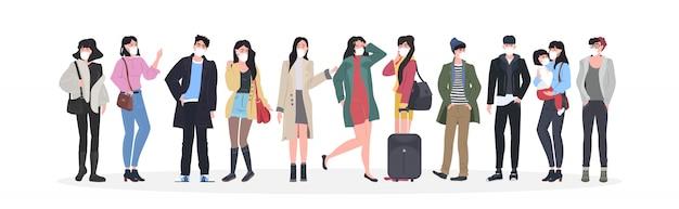 Mensen dragen maskers om epidemie te voorkomen wuhan coronavirus pandemie medisch gezondheidsrisico mannen vrouwengroep staande volledige lengte horizontaal