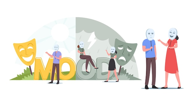 Mensen dragen maskers voor goed of slecht humeur, hypocrisieconcept. man en vrouw in lachende en droevige huilende maskers