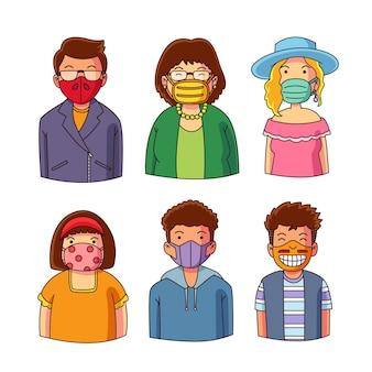 Mensen dragen maskers