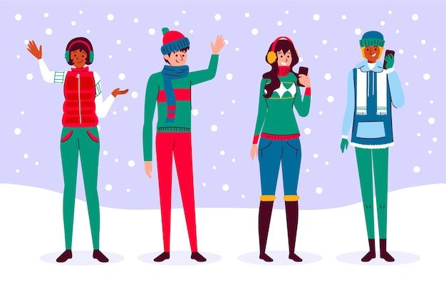 Mensen dragen set winterkleren