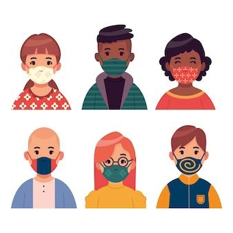 Mensen dragen stoffen gezichtsmaskers