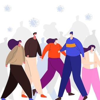 Mensen dragen verschillende maskers in de menigte