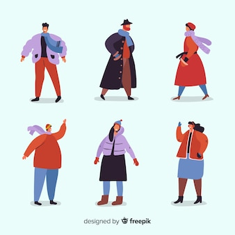 Mensen dragen winter kleding collectie